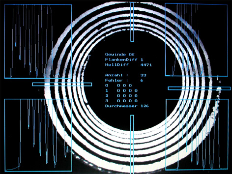 Monitor image: Evaluation of a M14x1.5 mm x 12 mm deep internal thread in a through hole