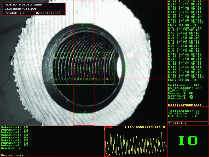 Monitor image: Evaluation of a M14x1.5 mm x 25 mm deep internal thread in a blind hole