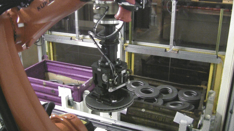 Pick & Place of friction ring blanks with by use of our stereo camera system.
