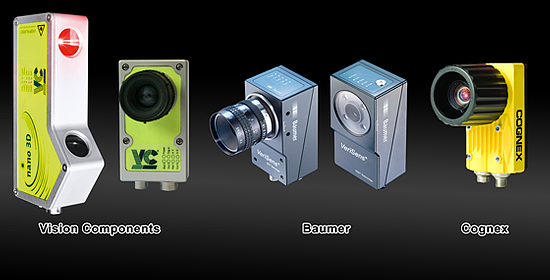 A selection of smart 3D sensors and cameras from different manufacturers.