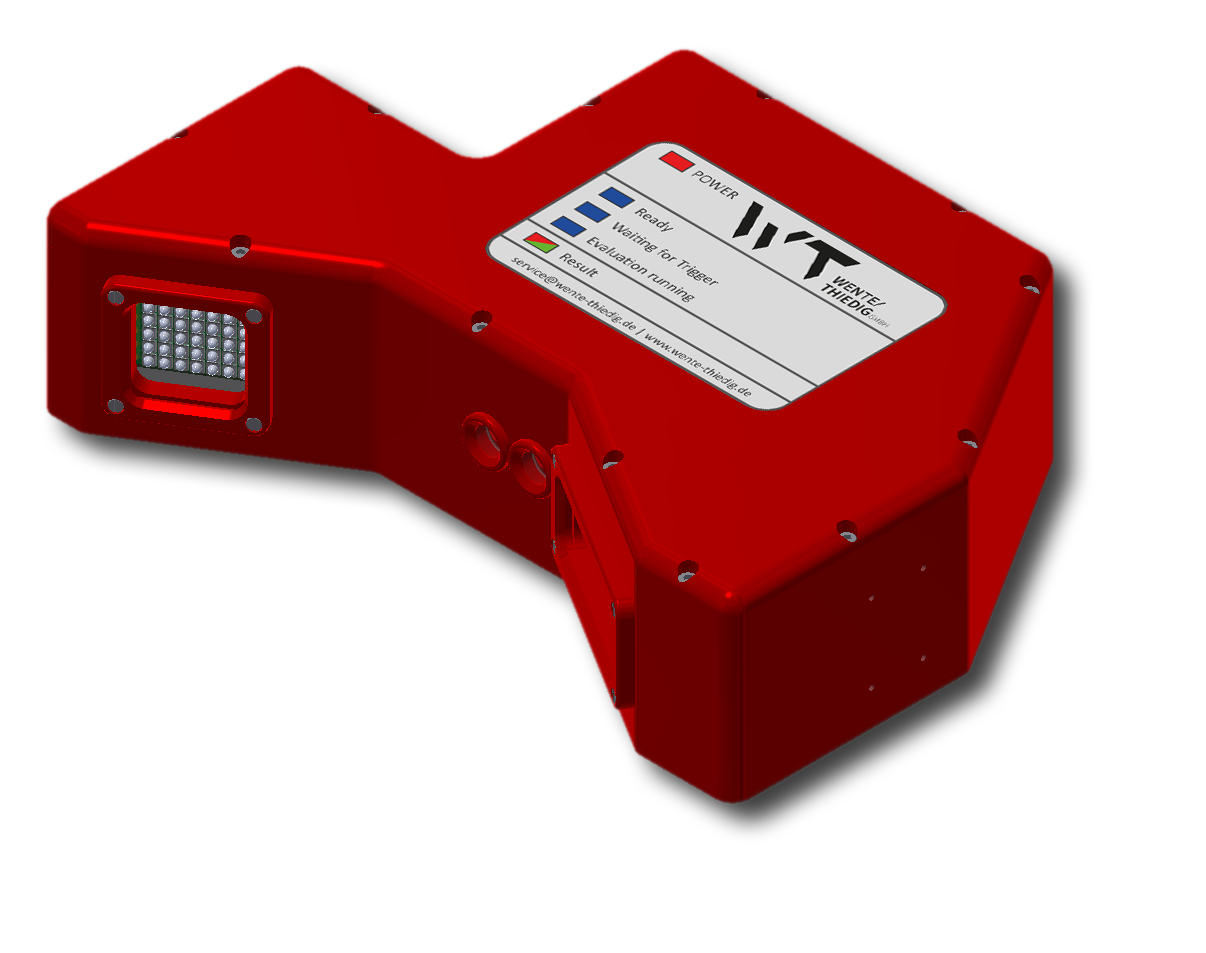 Stand-alone capable internal thread checking system i.ScrewCheck with integrated lighting and alignment laser.